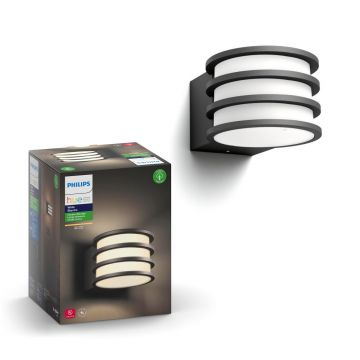 Philips Hue Lucca Outdoor Wall Light, 9W, Anthracite