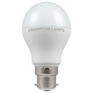 Crompton LED Classic GLS Thermal Plastic Bulb, B22d, 6W, Non-Dimmable, Warm White, Opal Finish