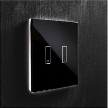 Iotty Double (2 Gang) Smart Light Switch, Black