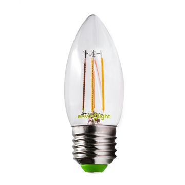 Envirolight LED 4W Filament Non-Dimmable Candle Bulb, Warm White, Screw Fitting