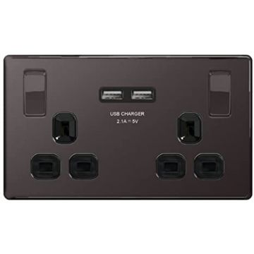 Nexus Metal 13A Double Plug Socket with 2 x USB Charger, Black Nickel, Black Inserts (REPLACED BY FBN22U3B)