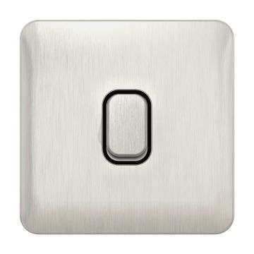 Schneider Lisse Deco 20A Single 2 Pole Switch, Stainless Steel, Black Inserts