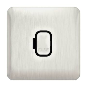Schneider Lisse Deco 13A Unswitched Fused Spur, Stainless Steel, Black Inserts