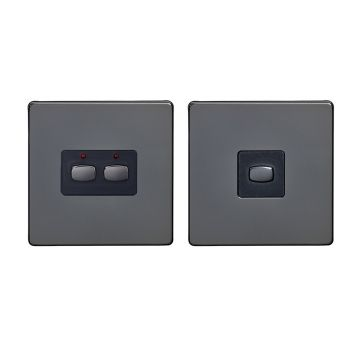 MiHome Double (2 Gang) Master & Slave Light Switches, Black Nickel