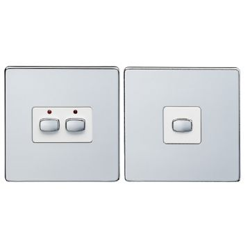 MiHome Double (2 Gang) Master & Slave Light Switches, Chrome (DISCONTINUED)
