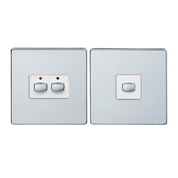 (Discontinued) MiHome Double (2 Gang) Master & Slave Light Switches, Brushed Steel