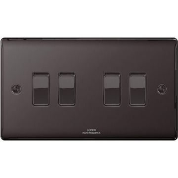 Nexus Metal 10A Four Way Light Switch, Black Nickel