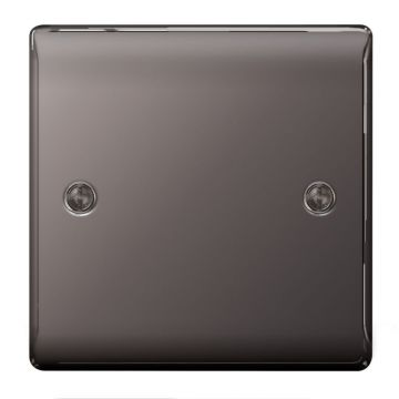 Nexus Metal Flat Plate Single Socket Blanking Plate, Black Nickel