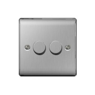 Nexus Metal Double Dimmer Switch, Push On/Off 200W, Brushed Steel