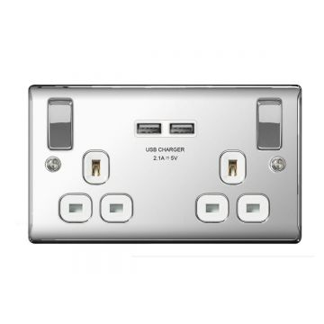 Nexus Metal 13A Double Plug Socket with 2 x USB Charger 3.1A, Polished Chrome, White Inserts