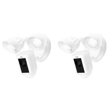 Ring Floodlight Cam Motion Activated Security Camera, Wired, White - PACK OF TWO