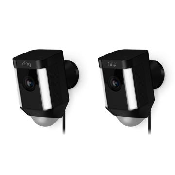 Ring Smart Spotlight Camera, Wired, Black - PACK OF TWO