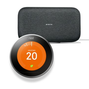 Google Nest® T3028GB Learning Thermostat 3rd Generation & Google Home Max - Charcoal
