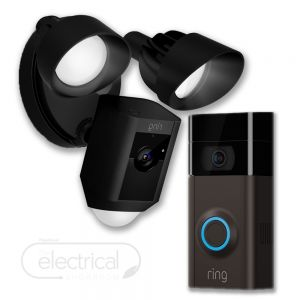 Ring Video Doorbell V3 & Black Floodlight Bundle